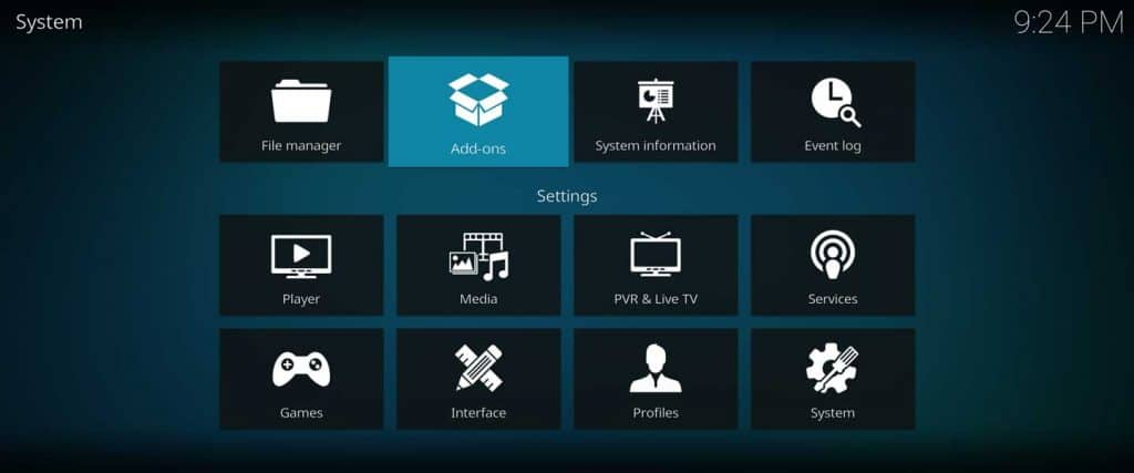 kodi package manager add-ons browser