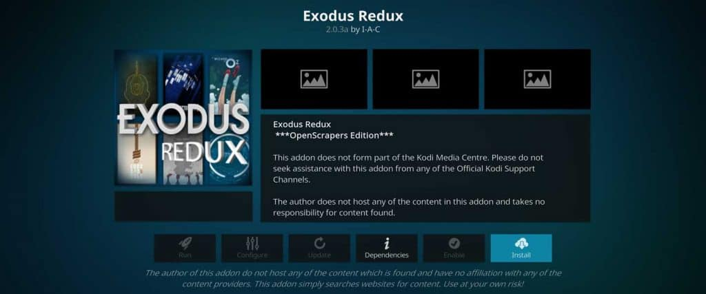 click button to begin exodus redux installation on firestick jailbreak