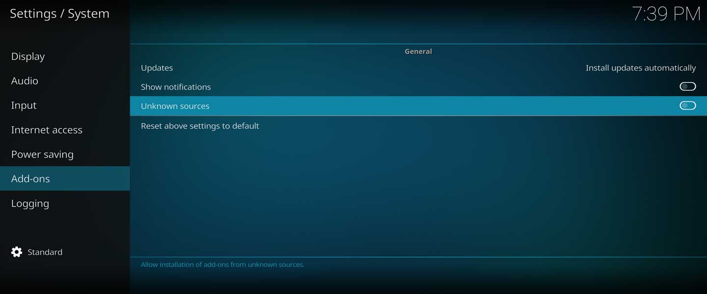 kodi add-ons from unknown sources system setting