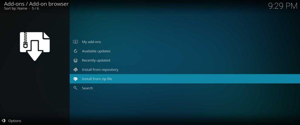 install kodi repo from zip file