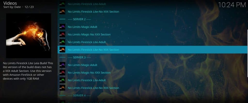 no limits firestick lite build within installation wizard